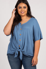 Blue Button Front Knot Dolman Plus Top