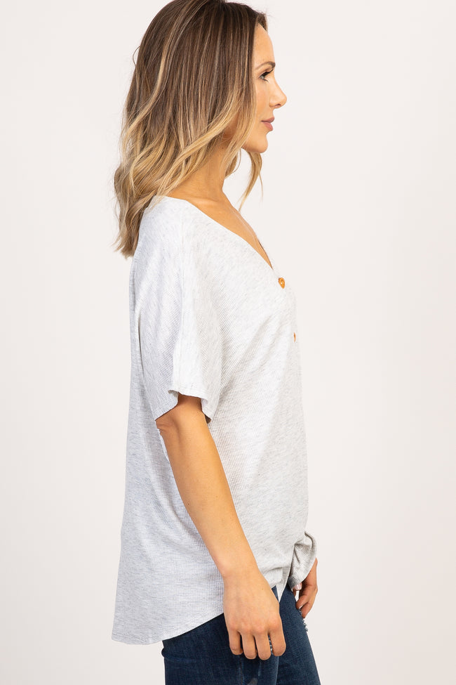 Heather Grey Button Front Knot Dolman Maternity Top