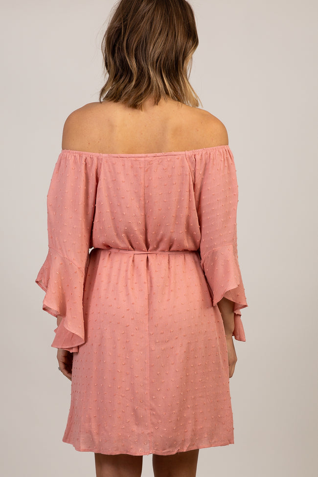 Mauve Swiss Dot Off Shoulder Dress