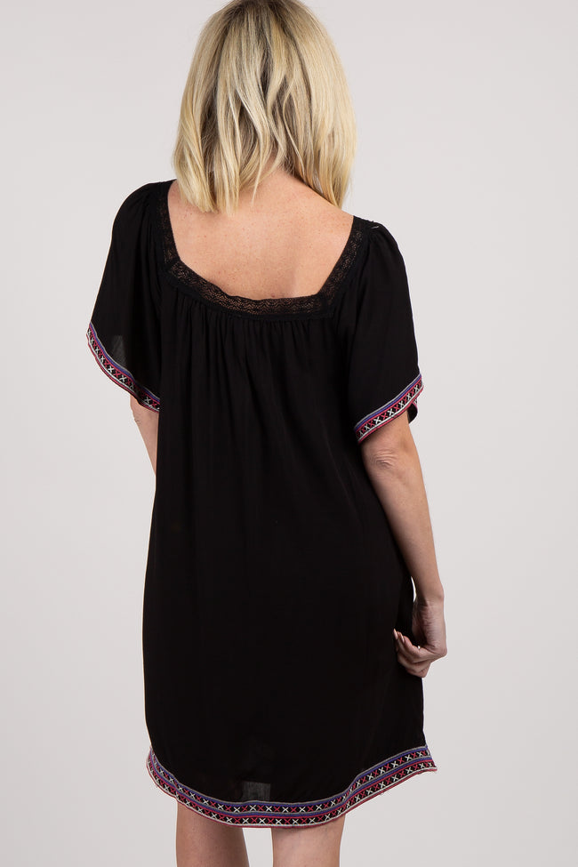 Black Embroidered Trim Shift Dress