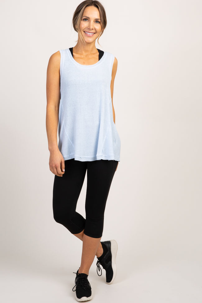 Light Blue Sleeveless Ribbed Active Top