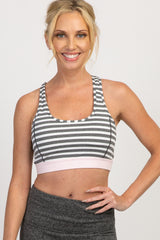 Grey Striped Colorblock Band Sports Bra