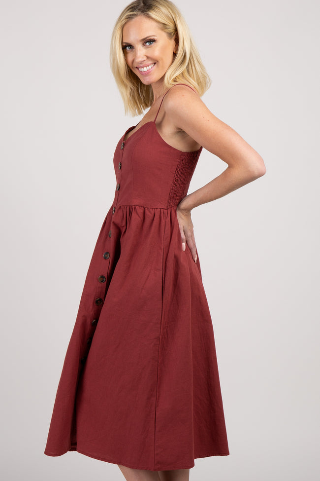 Burgundy Button Front Sweetheart Dress