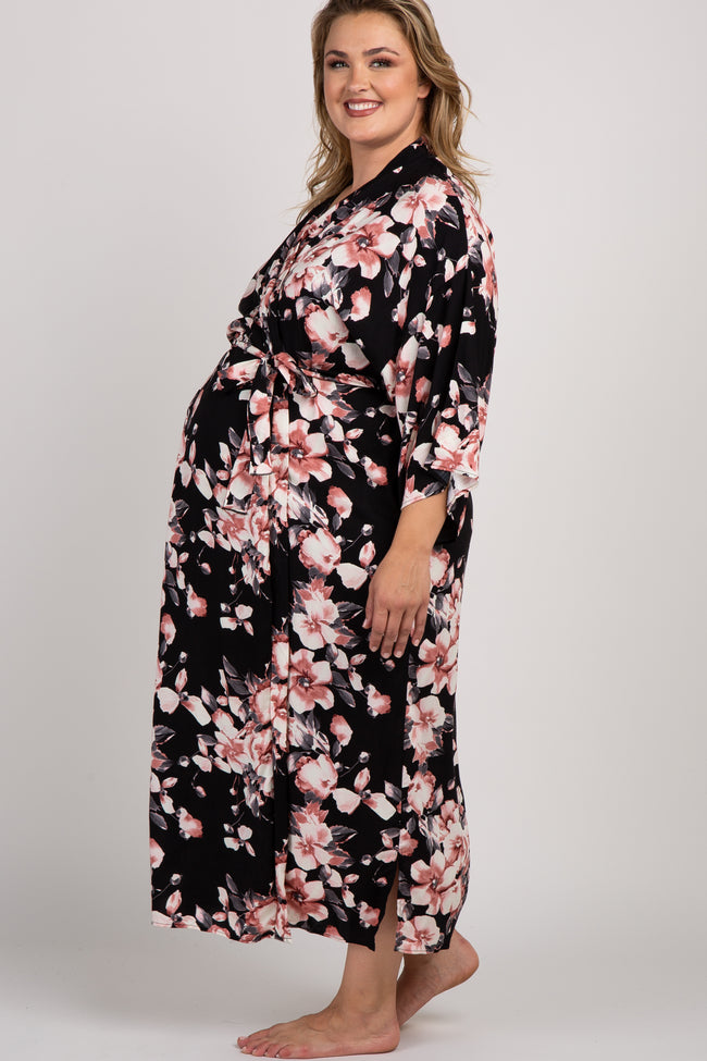 Black Floral Delivery/Nursing Long Maternity Plus Robe