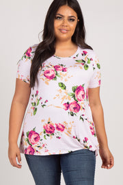 PinkBlush Pink Floral Knotted Hem Plus Top