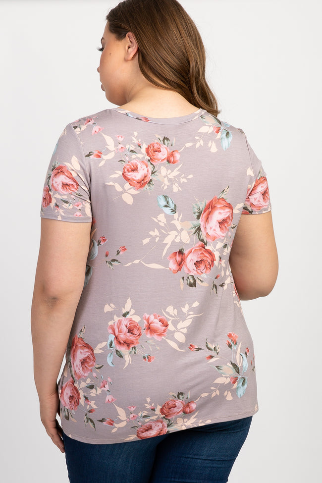 PinkBlush Taupe Floral Knotted Hem Plus Maternity Top