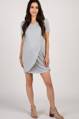 Heather Grey Solid Layered Wrap Front Maternity Nursing Dress