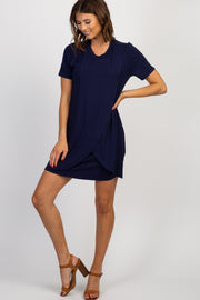 Navy Solid Layered Wrap Dress