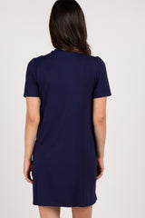 Navy Solid Layered Wrap Front Maternity Nursing Dress