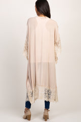 Beige Solid Scalloped Embroidered Lace Maternity Cardigan