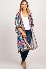 Multi Striped Floral Bell Sleeve Kimono