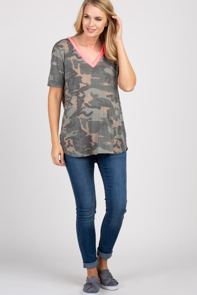 Pink Camo Colorblock Short Sleeve Maternity Top
