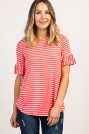 Coral Striped Ruffle Sleeve Maternity Top