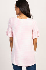 Light Pink Striped Ruffle Sleeve Maternity Top