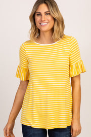 Yellow Striped Ruffle Sleeve Top