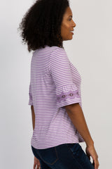 Lavender Striped 3/4 Sleeve Crochet Lace Top