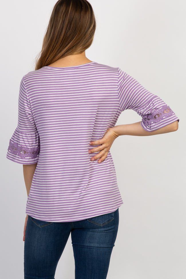 Lavender Striped 3/4 Sleeve Crochet Lace Maternity Top