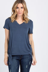 Blue Short Sleeve Knotted Hem Top