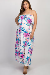 Ivory Floral Ruffle Strapless Plus Maternity Maxi Dress