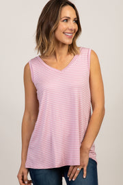 Pink Striped Sleeveless V-Neck Top