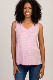 Pink Striped Sleeveless V-Neck Maternity Top