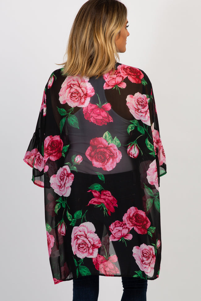 Black Floral Chiffon Ruffle Sleeve Cover Up