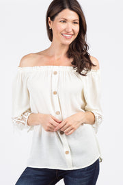 Cream Solid Crochet Off Shoulder Top
