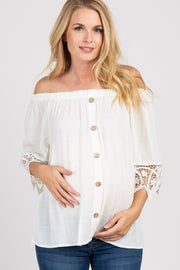 Cream Solid Crochet Off Shoulder Maternity Top