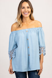 Light Blue Solid Crochet Off Shoulder Top