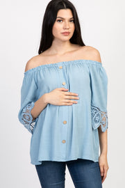 Light Blue Solid Crochet Off Shoulder Maternity Top