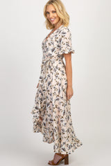 Peach Floral Ruffle Wrap Hi-Low Dress