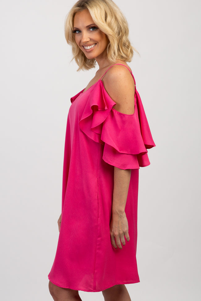 Fuchsia Ruffle Cold Shoulder Dress