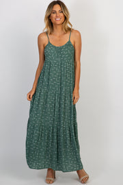 Olive Printed Tiered Cami Maxi Dress