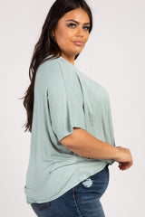 Mint Green V-Neck Cross Back Women's Plus Short Sleeve Top