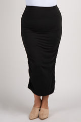 Black Fitted Ruched Plus Midi Skirt