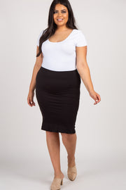 Black Solid Ruffle Hem Plus Pencil Skirt