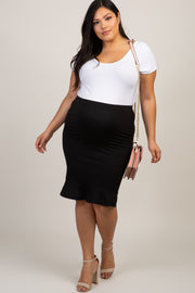 Black Solid Ruffle Hem Plus Maternity Pencil Skirt