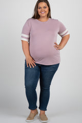 Mauve Striped Sleeve Plus Maternity Top