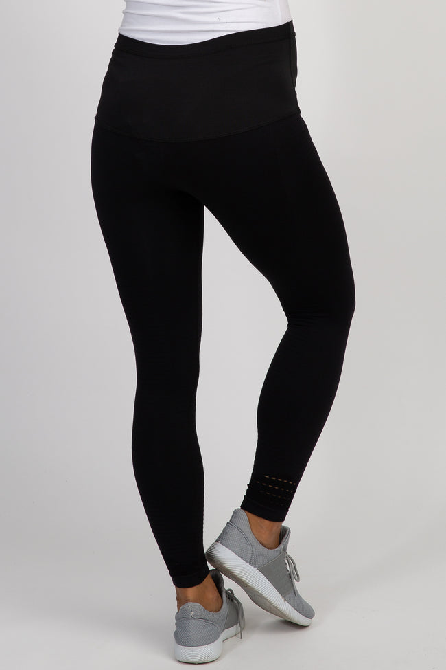 Black Cropped Moto Maternity Active Leggings