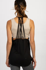 Black Strappy Back Maternity Active Tank Top