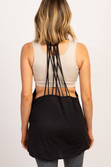 Black Strappy Back Active Tank Top