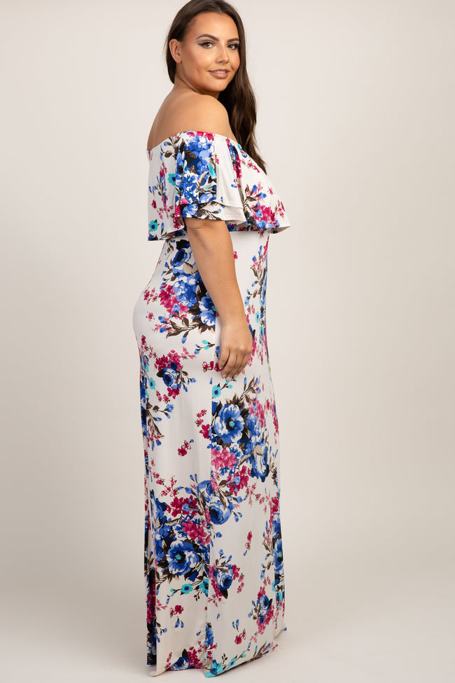 Ivory Floral Ruffle Off Shoulder Plus Maxi Dress