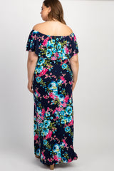 Navy Floral Ruffle Off Shoulder Plus Maternity Maxi Dress