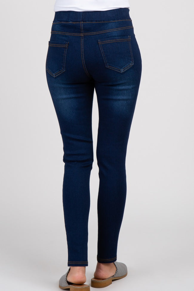 Navy Blue Solid Maternity Jeggings