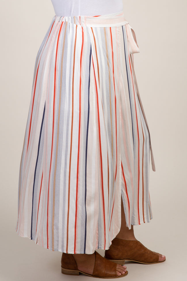 Multi Color Striped Self Tie Plus Skirt