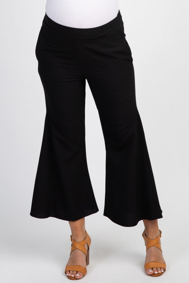 Black Solid Cropped Wide Leg Maternity Pants