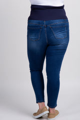 Navy Blue Faded Maternity Plus Jeans