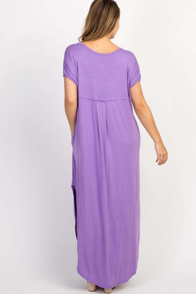 Lavender Solid Side Slit Dolman Maternity Maxi Dress