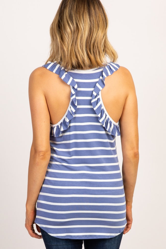 Periwinkle Striped Ruffle Maternity Tank Top