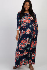 Navy Blue Floral 3/4 Sleeve Plus Maternity Maxi Dress